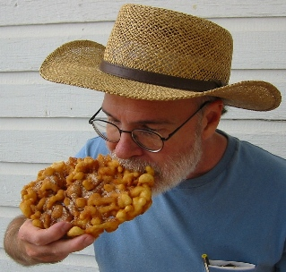 Petzold eating a funnel cake